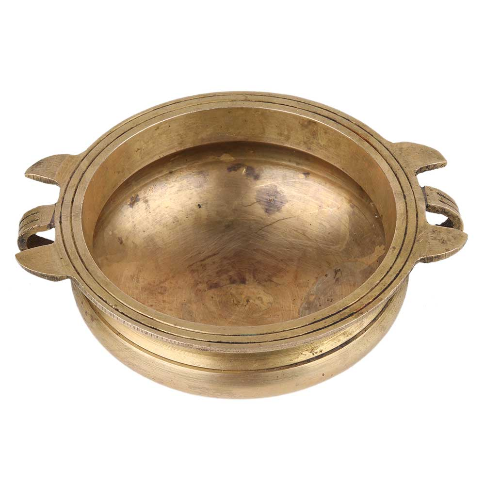Golden Handmade Brass Uri Bowl For Decorating Offering