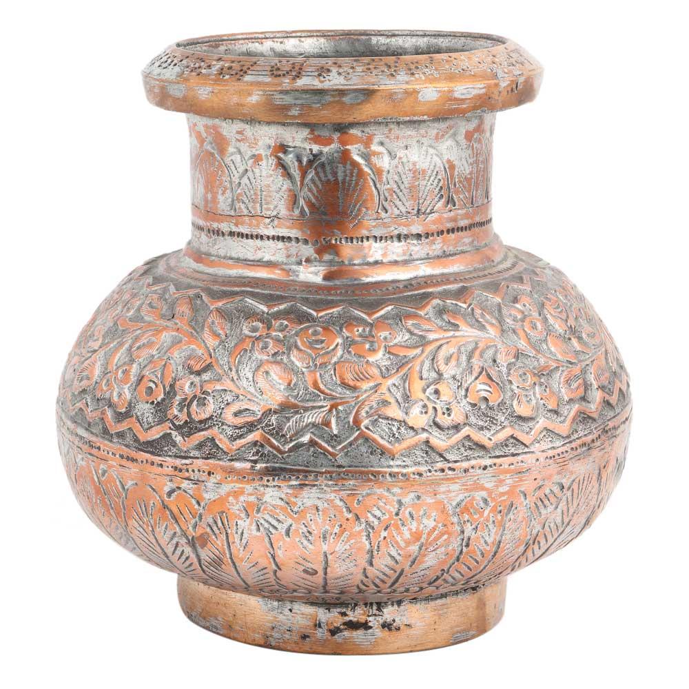 Copper Handmade Tea Pot Carved Design And Spout Kettle