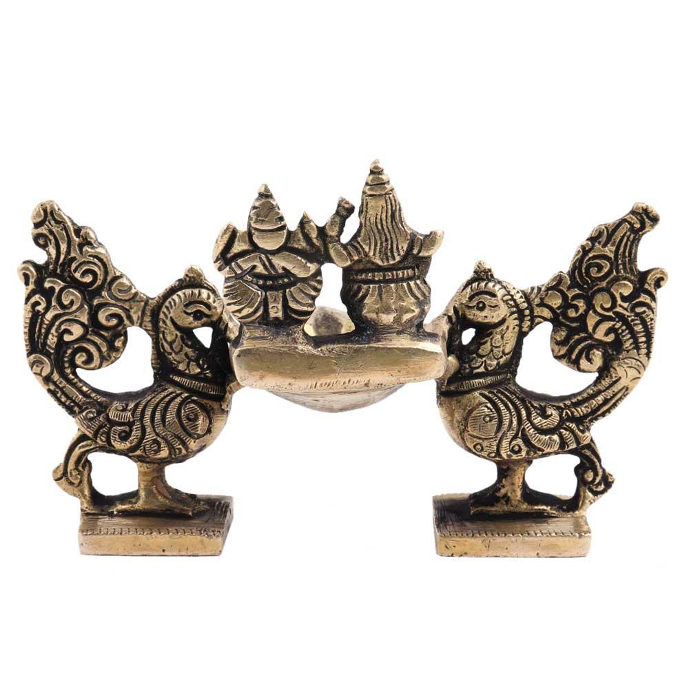 Brass Oil Lamp With  Laxmi Ganesha And Twin Peacocks Statue Festive Diya