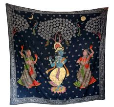Pichwai Painting Of Lord Krishna with Gopies Floral Motifs On Black Cloth