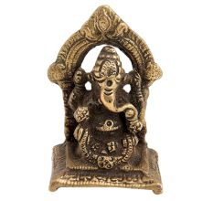 Brass Ganesha Idol Sculpture Sitting On A Chowki