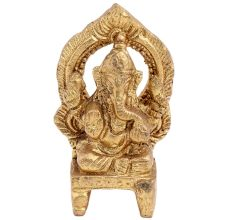 Brass Ganesha Idol Blessing Sitting On Chowki