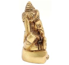 Brass Ganesha Statue Sitting On Chowki Chaturbhurj Pose