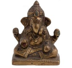 Brass Ganesha Statue  Sitting On Raised Platform Blessing Pose