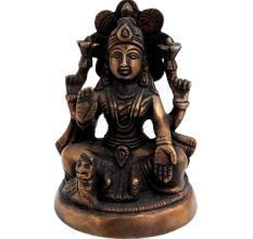 Brass Laxmi Statue With Owl Blessing Pose
