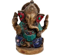 Colorful Brass Ganesha Statute For Worship And Decoration
