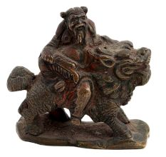 Brass Chinese Old Man Figurine On Dragon Statue