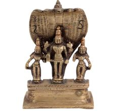 Brass Lord Vishnu With  Deivanai and Valli And Sheshnag Statue
