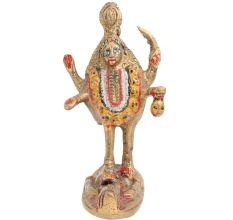 Hand Painted Brass Goddess Kali Statue Standing On Lord Shiva