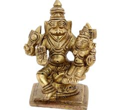 Brass Narsimha Vishnu Avatar With Goddess Laxmi Statue