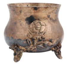 Brass Planter Pot With Rose Relief Design And Three Legs