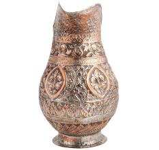 Handmade Copper Jug With Flower Motifs Scroll Design