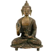 Brass Buddha Statue Blessing Sitting on Chowki