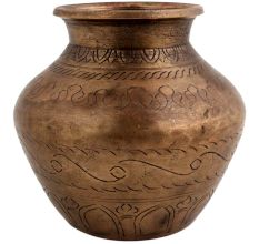 Brass Holy Water Pot With Fine Carving