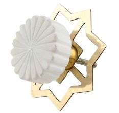 Round White Stone Floral Pattern Cabinet Knobs