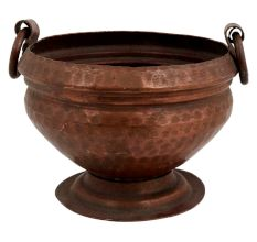 Hand Hammered Copper Pot Ring Handles On  Circular Base