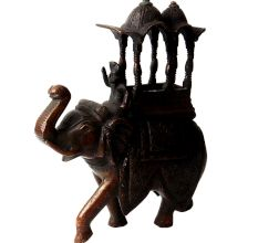 Finely Carved Elephant Statue With Mahut And Canopy
