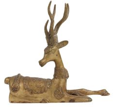 Brass Sitting Deer With Big Horns And decorative Back Finish