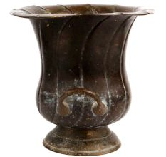 Brass Pot Planter With Fluted Design And Two Side Handles
