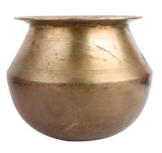 Golden Brass Water Storage Pot With Smooth Finish