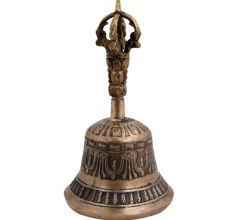 Brass Nepali Decorated And Embossed Vajra Bell