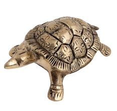Brass Feng Shui Turtle With Yantra Design