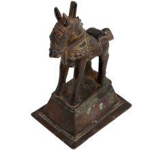 Used Brass Standing Horse Tribal Art Figurine