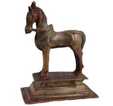 Brass Standing Horse Statue On A High Platform