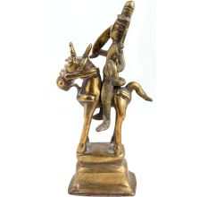 Odd Used Brass Statue Of Indian God Riding A Horse