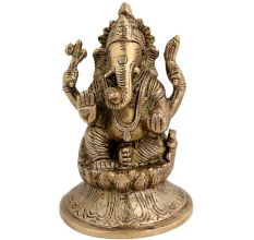 Brass Blessing  Ganesha Statue On Lotus Base