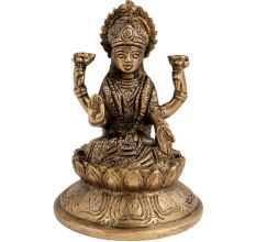 Brass Laxmi Blessing Statue On A Lotus Base