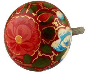 Red & Green Designer Wooden Knob