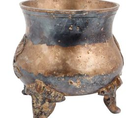 Brass Pot With Legs With Rose Flower Relief Design