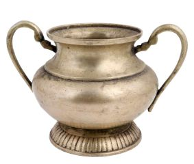 Golden Brass Pot With Three Legs And Two Handles
