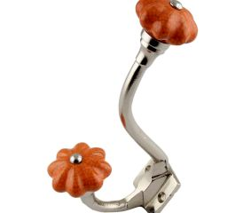 Orange Crackle Melon Ceramic Silver Iron Hook