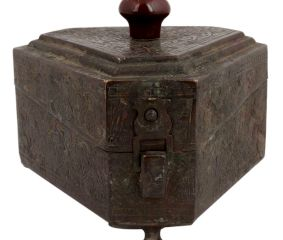 Six Sided Brass Box Floral Design Engraved Storage Box Knob Finial Lid