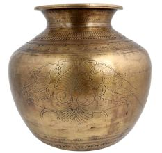 Brass Water Worship Pot Etched Two Birds And Big Flower
