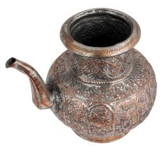 Copper Tea Pot  Floral Design Engraved Pot With Spout