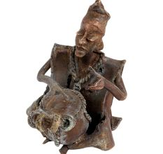 Nigeria Africa Musician Statue Playing Drum