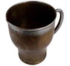 Handmade Brass Small Beer Mug Circular Rings On Base