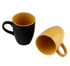 Decorative Handcraft Ceramic Black & Yellow Coffee Mug in Set Of 2
