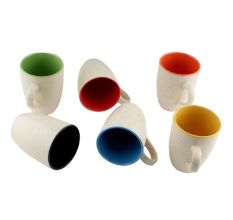 Decorative Handcraft Ceramic Multicolour Coffee Mug In Set Of 6