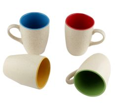 Designer Handcraft Ceramic Multicolour Coffee Mug In Set Of 4