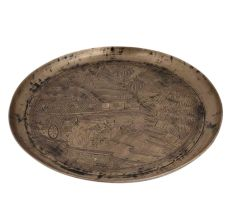Serving Tray or Plate Engraved with Indian Village Scene In Bell Metal