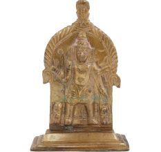 Standing Brass Deity Depicted Standing With Arched Panel