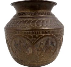 Brass Holy Water Pot Carved With God And Goddess And Traditional Design