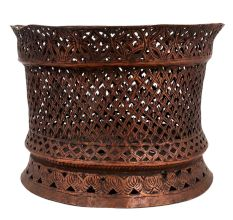 Hand Carved Copper Jali Work Tea light Holder For Religious Purpose