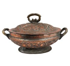 Copper Serving Bowl Engraved Floral And Leafy Design