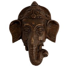 Brass Ganesha Face Detailed Engraved Wall Hanging