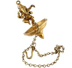 Brass Lord Ganesha With Hanging Lamp Or Diya